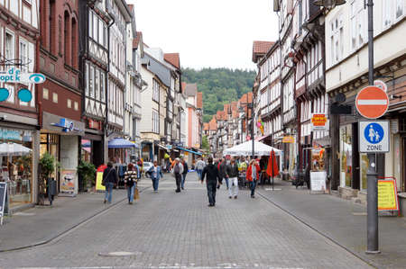 historically: Fachwerkhaeuser in the historic old town, Hannoversch Muenden, Lower Saxony, Germany Editorial