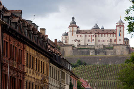multi family house: Strassenzug with a view at Fortress Marienberg, Wurzburg, Bavaria, Germany