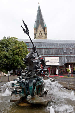 neptun: Neptun fountain on the market, Paderborn, North Rhine-Westphalia, Germany