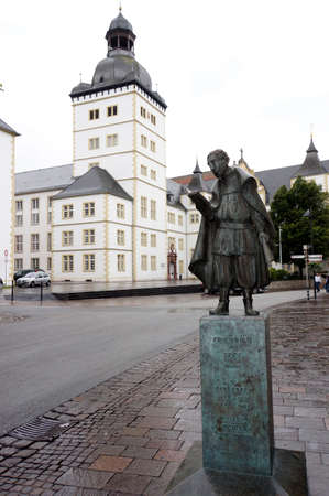 friedrich: Friedrich von Spee monument in front of the Faculty of Theology, Paderborn, North Rhine-Westphalia, Germany Editorial
