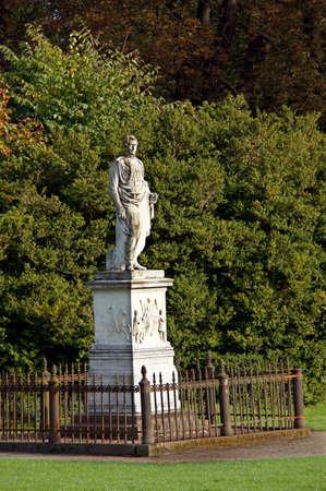 mecklenburg  western pomerania: Frst Wilhelm Malte monument, statue of Friedrich Drake, Putbus, Rgen, Mecklenburg-Vorpommern, Germany r Stock Photo