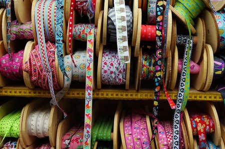 haberdashery: Fabrics and Haberdashery on the fabric market, Euskirchen, North Rhine-Westphalia, Deutschlland Stock Photo