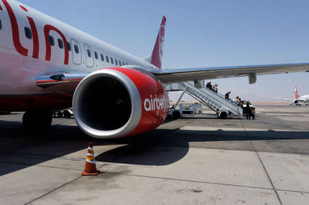 Air Berlin plane at the airport Hurghada Egypt, Reklamní fotografie - 34094537