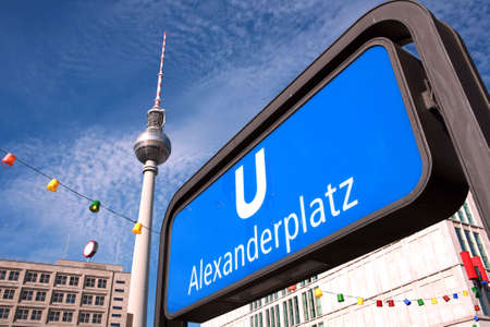 u bahn: TV tower at Alexanderplatz, Berlin, Germany