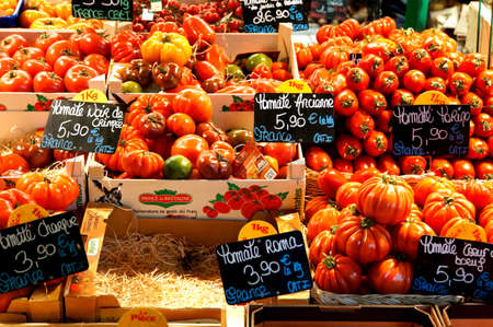 Various types of tomatoes on the market, Metz, France