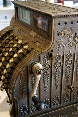 pay wall: old mechanical cash register Stock Photo
