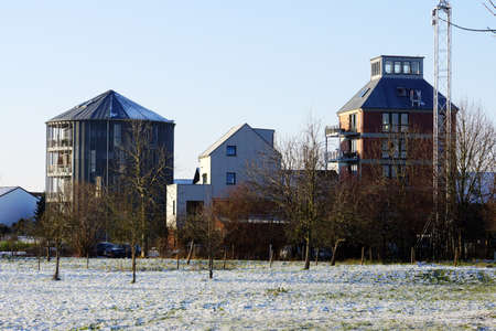 converted: apartments to converted granary, Weilerswist, North Rhine-Westphalia, Germany, small Vervich Stock Photo