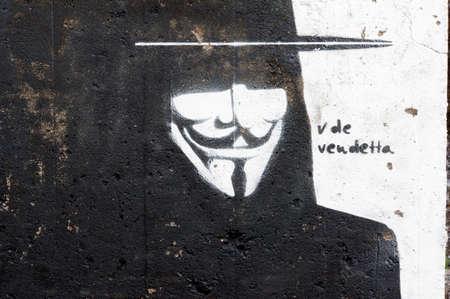 vendetta: Grafitti V for Vendetta, San Andres, Tenerife, Spain Editorial