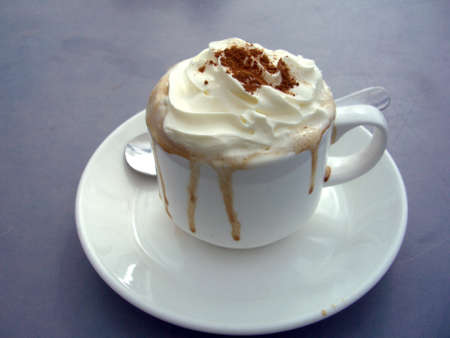 lacking: bervoller Cappuccino with cream Stock Photo