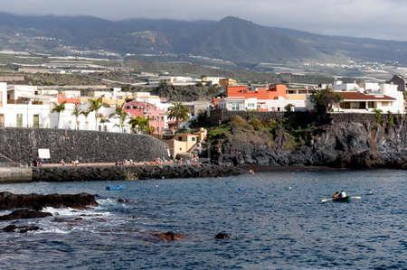 Beach promenade Alcal� Guia de Isora, Tenerife, Spain Stock Photo