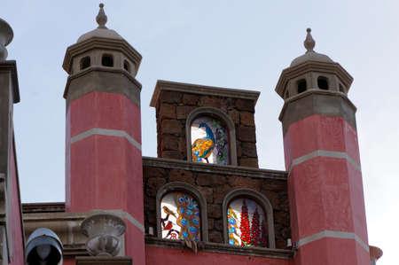 gable house: Art Nouveau elements on the gable of a house, Guia de Isora, Tenerife, Spain, Alcal
