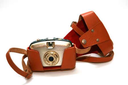 old rangefinder camera in leather case