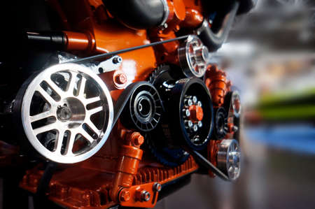 Details on an engine block
