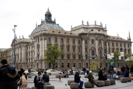 u bahn: Views over the Karlsplatz to District Court, Munich, Bavaria, Germany