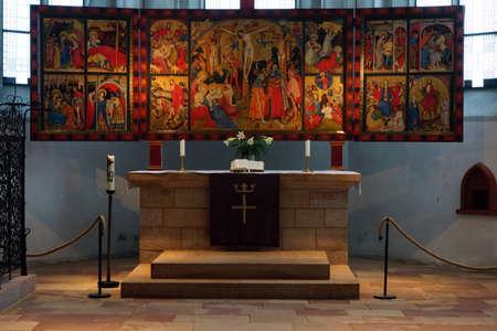 soest: Wildungen altar of Conrad von Soest in town church of St. Nicholas, Bad Wildungen, Hesse, Germany Stock Photo