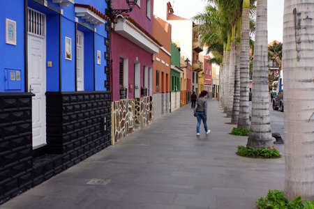rehabilitated people: Reorganized Strassenzug in the historic old town, Puerto de la Cruz, Tenerife, Canary Islands, Spain Editorial