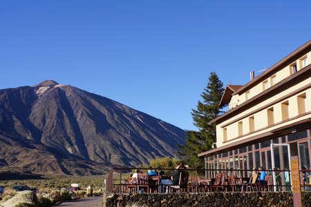 garcia: View from the Parador to the Roques de Garcia Pico del Teide, Teide National Park, Tenerife, Canary Islands, Spain Editorial