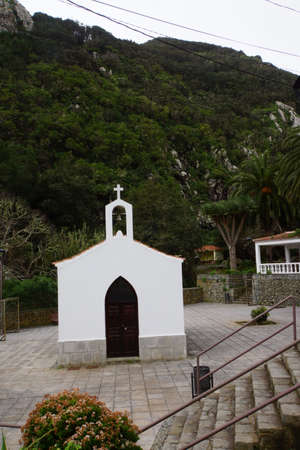laurel mountain: Village church in Chamorga, Tenerife, Canary Islands, Spain Stock Photo