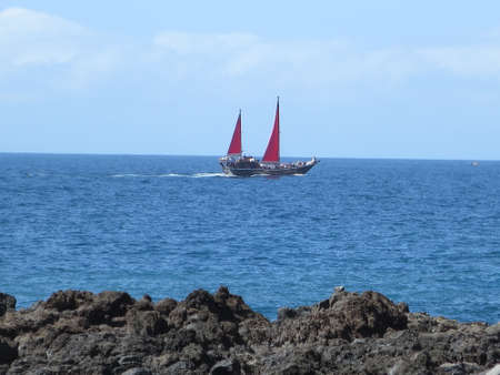 schooner: Whale watching in the schooner with red sails Puerto de Santiago, Tenerife, Canary Islands, Spain