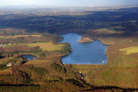 Aerial view of Wahnbachtalsperre, Siegburg, North Rhine-Westphalia, Germany