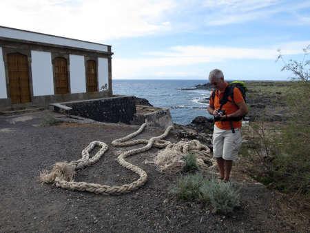spliced: Thick rope at Faro de Rasca, Las Galletas, Tenerife, Canary Islands, Spain Stock Photo