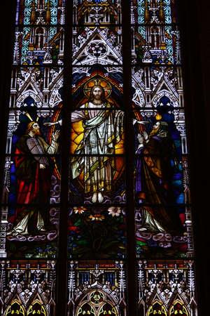 mecklenburg western pomerania: Ornate church window in Schwerin Cathedral, Schwerin, Mecklenburg-Vorpommern, Germany
