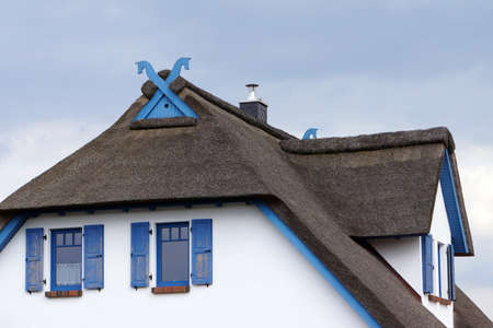 mecklenburg: Traditional thatched roof Timmendorf Beach Mecklenburg Vorpommern Germany Insel Poel