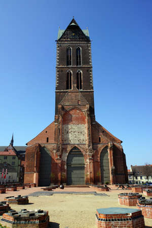 baudenkmal: Tower of Marienkirche Wismar Mecklenburg Vorpommern Germany Stock Photo