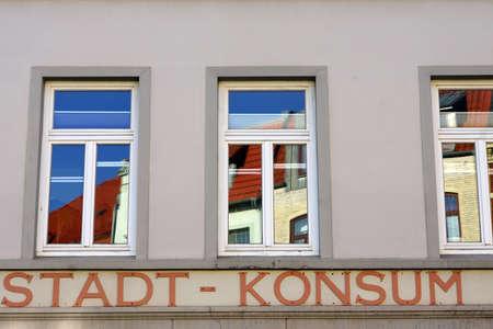 gdr: City Consumerism relic from GDR Times Wismar Mecklenburg Vorpommern Germany