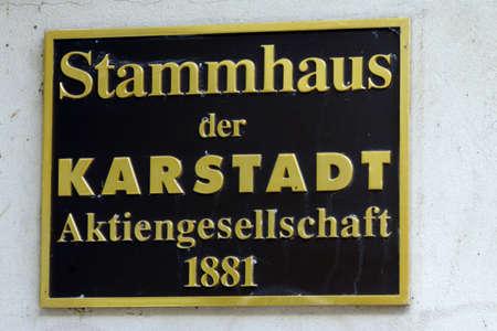 mecklenburg western pomerania: Signboard of the parent company Karstadt Wismar Mecklenburg Vorpommern Germany