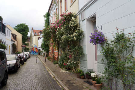 residential street: begrnte houses in a residential street, Bremen, Germany Editorial