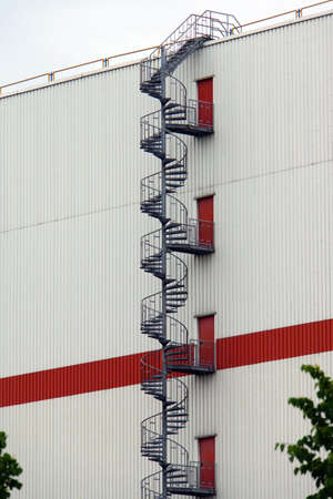 fire escape: Fire escape on a Industriegebude, Bremen, Germany Stock Photo