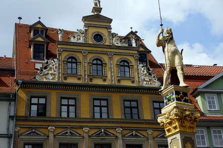 Statue at the Roman The Fish Market, Erfurt, Thuringia, Germany Stock Photo