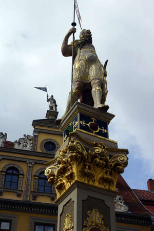 baudenkmal: Statue at the Roman The Fish Market, Erfurt, Thuringia, Germany Editorial
