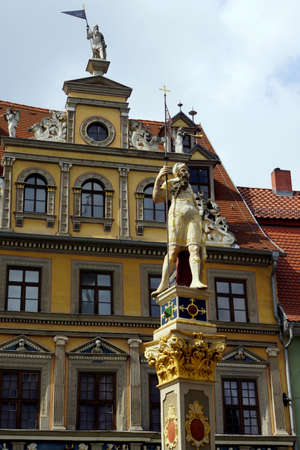facade baudenkmal: Statue at the Roman The Fish Market, Erfurt, Thuringia, Germany Editorial
