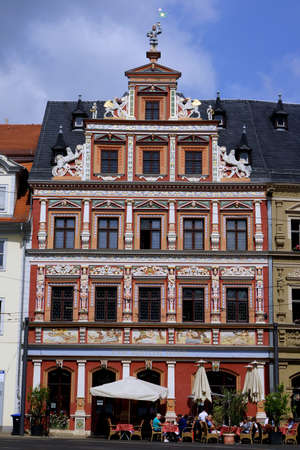 baudenkmal: Historic house to the wide hearth at the Fish Market, Erfurt, Thuringia, Germany Editorial