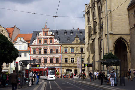 Fish market with the town hall, Erfurt, Thuringia, Germany