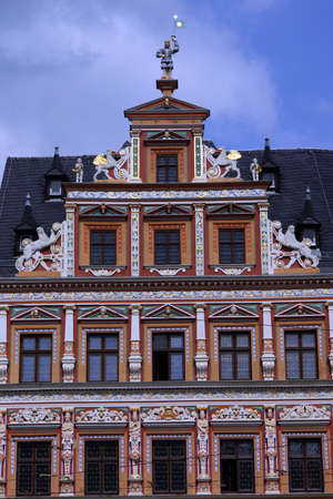 facade baudenkmal: Historic house to the wide hearth at the Fish Market, Erfurt, Thuringia, Germany Editorial