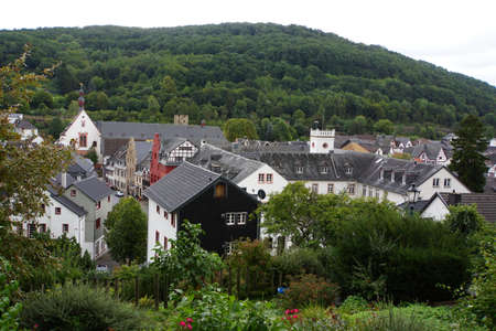 rhine westphalia: Overlooking the old town with red Town Hall, Bad Mnstereifel, North Rhine-Westphalia, Germany Stock Photo