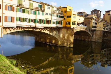 arno: Ponte Vecchio, Segmentbogenbrcke over the Arno, Florence, Tuscany, Italy Stock Photo
