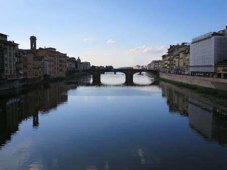 ponte: Blick von der Ponte Vecchio auf den Arno, Florenz, Toskana, Italien