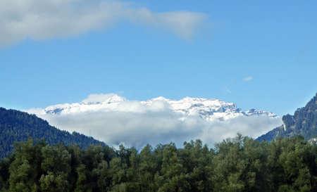 alp: Overlooking the snowdeckt Glarus Alps, Tamins, Graubnden, Switzerland