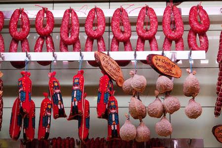 butcher s shop: Sausage display at the butchers, Rothenburg ob der Tauber, Bavaria, Germany Editorial