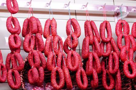 butcher s shop: Sausage display at the butchers, Rothenburg ob der Tauber, Bavaria, Germany Stock Photo