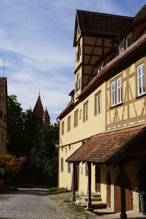 Primus-Truber-Hof, Rothenburg ob der Tauber Stock Photo