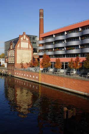 spree: modern urban development on the River Spree from Friedrichshain