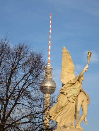 olympus: Nike sculpture bears the fallen hero to Mount Olympus on the Schlossbrcke, Berlin, Germany
