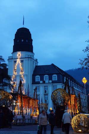 christmassy: Christmassy illuminated Kurgaten bridge, Bad Neuenahr, Rhenland-Palatinate, Germany