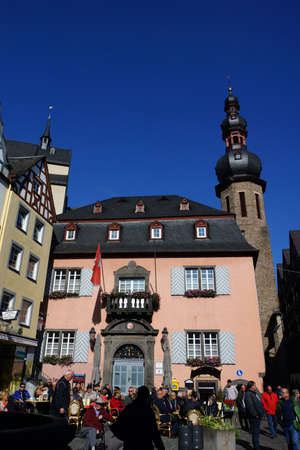 old town townhall: Market Place with Town Hall and Martins Fountain, Cochem, Rhineland-Palatinate, Germany Editorial