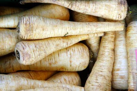 parsnips: German vegetables on the market - parsnips, Bad Neuenahr, Rhineland-Palatinate, Germany